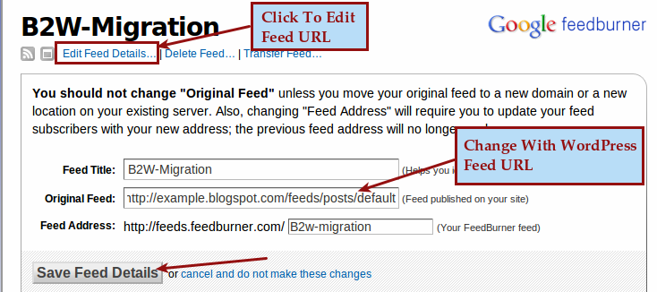 Redirect Feed URL From Blogger To WordPress